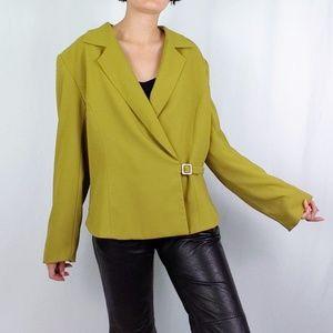 Vintage chartreuse blazer w/ asymmetrical buckle